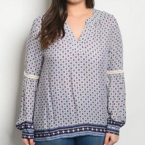 Plus Blouse Top Off White Patterned Long Sleeves
